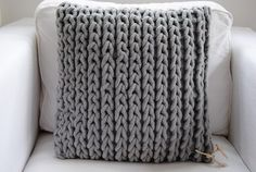 chunky knit pillow. I made a smaller striped version but I'd love to make more.