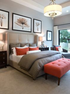 Neutral Bedroom with Burnt Orange Accents