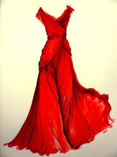 This could so have been the dress that I imagined in a picture I drew for years... I love the flowing red..  Beautiful.... Simply beautiful..