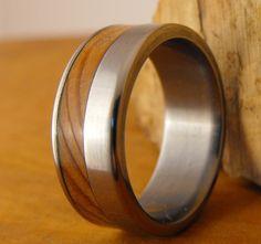 Titanium Wedding Ring with Cedar of Lebanon Wood by RobandLean