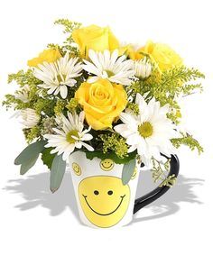 > Happy Face Mug Bouquet