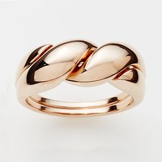 Twist Puzzle Puzzle Ring in Rose Gold  http://pinkloulou.com/pink-loulou-entwined-1/twist-puzzle-ring-in-rose-gold-plate-small