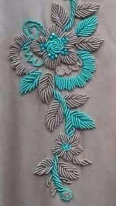Zardosi Embroidery, Pearl Embroidery, Kurti Embroidery Design, Embroidery Neck Designs, Floral Embroidery Patterns, Tambour Embroidery, Hand Embroidery Flowers, Hand Work Embroidery, Embroidery On Clothes