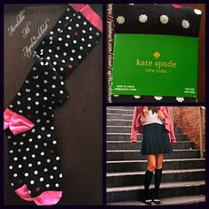 KATE SPADE Tall Knee High Boot Socks  NEW WITH TAGS   Kate Spade Tall Knee High Boot Socks  * Super soft & comfortable fabric * Opaque Knit construction (not sheer). * Stretch-to-fit * One size fits most; Pull on & to the knee style ****The solid black Kate Spade socks in the cover photo are for styling purposes only & to show length. *** Fabric: 67% Cotton, 31% Polyester & 2% spandex; Machine wash Color: Black, white & pink combo  No Trades ✅Bundle Discounts✅ kate spade Accessories Hosiery…