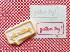 guten tag hand carved rubber stamp. hand carved stamp. hello in the world. handmade.. $12.00, via Etsy.