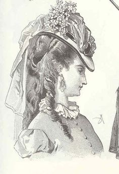 Throughout the half century, bonnets and hats, apart from sporting styles, were lavishly trimmed, and hair was invariably decorated with flowers, jewels or feathers for evening