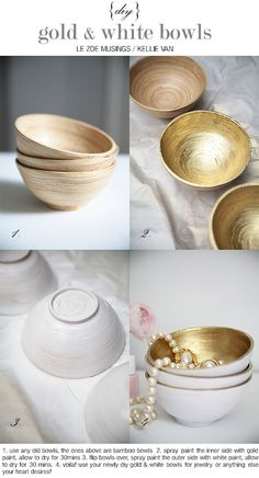 DIY~ Gold and White Painted Bowls. #diy #gold #bowls