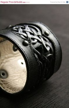 Subtle Sidhe style... Leather Cuff Leather Bracelet Black by Ethos Custom Brands.