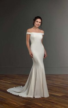 Simple Crepe Wedding Dress With Clean Lines