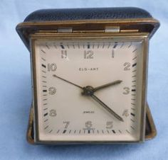 Vintage ELG ART Germany Wind Up TRAVEL ALARM CLOCK Leather