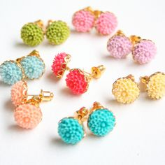 Mini Flower Ear Studs Choose your color by NestPrettyThingsShop
