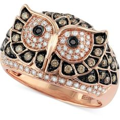Confetti by Effy White and Brown Diamond Owl Ring (3/4 ct. t.w.) in... ($3,200) ❤ liked on Polyvore featuring jewelry, rings, jewels, no color, round cut rings, 14k rose gold jewelry, 14 karat white gold ring, chocolate diamond rings and red gold ring