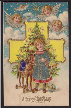 Christmas-Angels-Toy Horse-Tree-Embossed-Antique Postcard   eBay