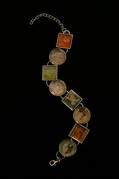 Postage Stamp Circles & Squares Charm Bracelet by victoriancrafts, $16.00
