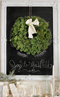 Framed holiday chalkboard over mason jars filled with white candles.  Great for over a mantel! #lulusholiday