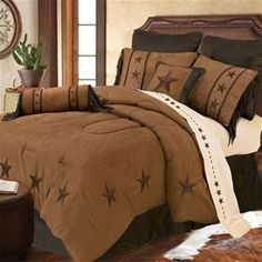 Delectably-Yours.com Laredo Tan Western Star Bedding Ensemble & 3 Pillows by HiEnd Accents - Twin Full Queen and King with matching accessories