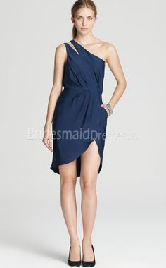 Ink Blue Chiffon Sheath/Column One Shoulder Short/Mini With Side Draping Bridesmaid Dresses(UKBD03-329)
