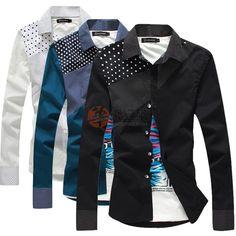 新款时尚拼接款男式长袖衬衣蓝色()  USD $6.99