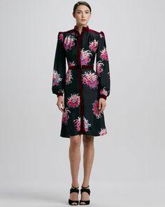 Silk Dahlia-Print Dress by Carolina Herrera at Bergdorf Goodman.
