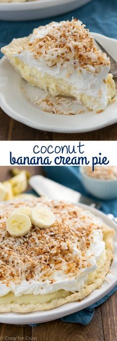 Coconut Banana Cream Pie that is completely from scratch - even the pudding!