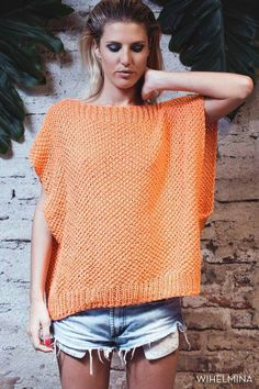 Square knitted top