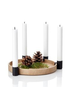 Luna candleholder from Applicata by Anders Nørgaard Advent Candles, Christmas Candles, Beautiful Christmas Scenes, Scandinavian Design Centre, Yule Decorations, Modern Candle Holders, Lights Fantastic, O Holy Night, Different Seasons