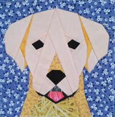 Dog quilt block in technology Paper Piecing. Quilt block finishes at tall . Dog Quilts, Animal Quilts, Barn Quilts, Cat Quilt, Scrappy Quilts, Denim Quilts, Patchwork Quilting, Paper Pieced Quilt Patterns, Quilt Block Patterns