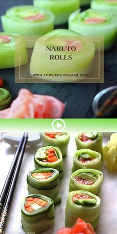 Keto Sushi Naruto Rolls Naruto rolls are completely low carb and made at home as a perfect combinati Low Carb Sushi, Sushi Roll Recipes, Low Carb Recipes, Cooking Recipes, Sashimi, Homemade Sushi, Keto Dinner, Keto Snacks, Seafood Recipes