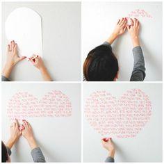 #DIY #wallart using #washitape -- MATERIALS: white poster paper, pencil, washi tape