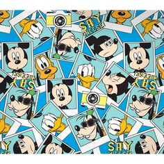 Disney Mickey Say Cheese Packed Photographs, Blue, 100% Cotton, 43/44 Width, Fabric by the Yard