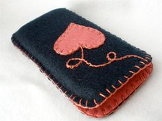 Felt Iphone Case Navy Rose Heart on a String. $14.00, via Etsy.