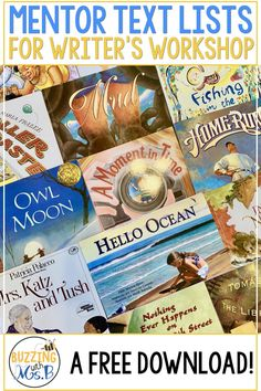 This post gets you started with a free download full of mentor text  ideas! This list of upper elementary picture books includes titles for  teaching reading and writing. Get personal narrative & expository  mentor texts to help students learn about good beginnings and endings, using sensory language, word choice, voice, conventions, and more!  Get the whole list! #mentortext #writersworkshop