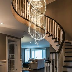 Enhance your staircase with this Elegant Round Raindrop Crystal Chandelier. Ceiling Light Light Source: LED Bulbs (Not Included) Suitable: Dining Room, Living Room, Foyer, Etc. Foyer Chandelier, Modern Chandelier, Entry Chandelier, Master Bedroom Lighting, Entryway Chandelier, Crystal Chandelier, Chandelier In Living Room, Entryway Lighting, Ceiling Lights