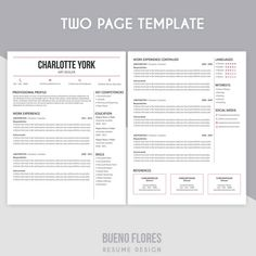 introducing charlotte york an elegant feminine multipurpose design which includes a two page resume - Two Page Resume