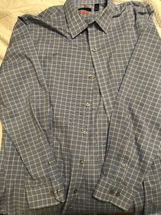 303d69f2d53ae9 Van Heusen Casual Blue Plaid Dress Shirt 16-16 1/2 32/33 LG #fashion  #clothing #shoes #accessories #mensclothing #shirts (ebay link)