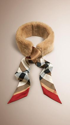 Camel Rabbit and Silk Slim Scarf - Image 1