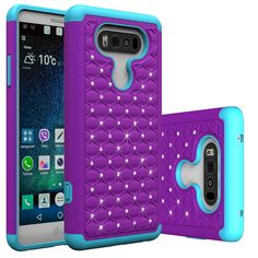 LG V20 Case, VL [Slim Fit] Hybrid Heavy Duty Shockproof Diamond 3 in 1 Bumper Cover with Soft TPU Hard PC Soft Silicone Skin Impact Protection Anti-scratches for LG V20 (Purple Green). Specially design for LG V20, allowing full access to touchscreen, camera, buttons, and other ports. Designed specifically to look and feel thin and not bulky. Full access to all ports, and sensitive button covers allow responsive presses. Dual layer build with inner soft silicon cover and a hard plastic...