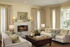 Live like the stars - this soft neutral living room belongs to actress Sarah Michelle Gellar, but the look can be yours as well.  Tan paint on the walls and cream woodwork are a great place to start.  We are a Bellingham WA #PaintingContractor. http://www.northpinepainting.com