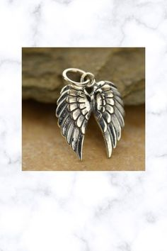 Steampunk Angel Pendant Necklace 925 Sterling Silver Charm Double Wing Goth Angel Pendant, Fantasy Jewelry, Steampunk, Goth, Angels, Wings, Silver Rings, Necklaces, Charmed