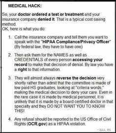 If your insurance company declines paying for a doctor ordered test...things you can do