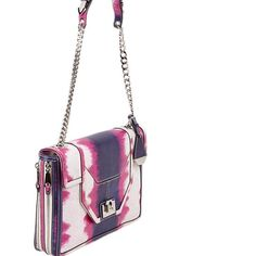 """Rebecca Minkoff Collection Lizard Allie Bag Rebecca Minkoff Collection lizard embossed Allie Purse. Zip gusset sides. Zip pocket and several slip pockets inside. Multi chain shoulder strap with leather shoulder rest. Gunmetal tone hinged metal closure. 12"""" approx. strap drop. Pink, purple and white lizard embossed flap bag. Price is firm. Key clip. Dust bag included. Rebecca Minkoff Bags Shoulder Bags"""