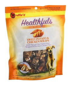 Ruffin it Healthfuls Wholesome Treats for Dogs Sweet Potato and Chicken Wraps 16 OZ Pack of 6 -- Click image to review more details. (This is an affiliate link)