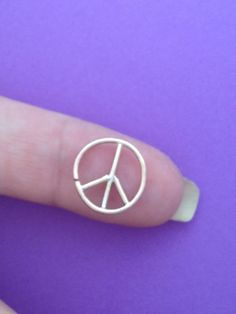 Tragus, Piercing, Facial Piercing, Continuous Hoop Ring/ Sterling Silver/ 12mm/ 18g Peace Sign Custom made