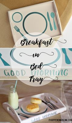 Make this lovely Breakfast in Bed Tray with Cricut Explore Air and adhesive foil AD Upcycled Crafts, Easy Diy Crafts, Crafts To Do, Adult Crafts, Silhouette Curio, Bed Tray Diy, Cricut Tutorials, Breakfast In Bed, Diy Tutorial