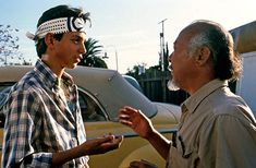 Ralph Macchio and Pat Morita in The Karate Kid The Karate Kid 1984, Karate Kid Movie, Karate Kid Cobra Kai, Old Movies, Vintage Movies, Cobra Kai Dojo, Native American Moccasins, Radios, Ralph Macchio