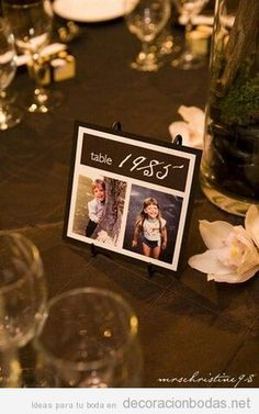 Detalle original para numerar o dar nombre a las mesas de boda