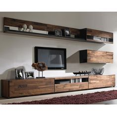 Source Hanging Shelf with Hanging Cabinets, Wooden TV stand assembling design on. : Source Hanging Shelf with Hanging Cabinets, Wooden TV stand assembling design on. Home Living Room, Room Design, Living Room Decor Apartment, Home Decor, Wooden Tv Stands, Tv Shelf Design, Simple Tv Stand, Home Interior Design, Living Room Tv