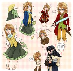 The Hobbit - some Thorin x Bilbo (moe genderbend) fan art (for someone who was asking about it ages ago)