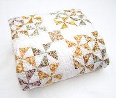 Pastel and White Pinwheel Quilt