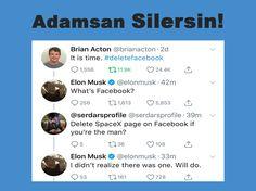 """Türk Takipçisinden Elon Musk'a İbretlik Facebook Çağrısı: """"Adamsan Silersin"""" #BrandingTürkiye #BütünleşikPazarlama #SosyalMedya #Dijital #Twitter #DeleteFacebook #ElonMusk #Tesla #SpaceX #Facebook #AdamsanSilersin #Haberler"""